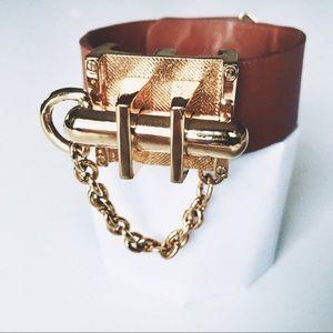 RachelZoe signature leather cuff bracelet gold pin